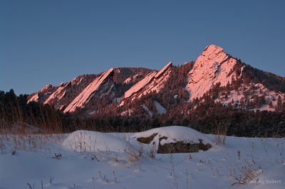 Winter Alpenglow on the Flatirons