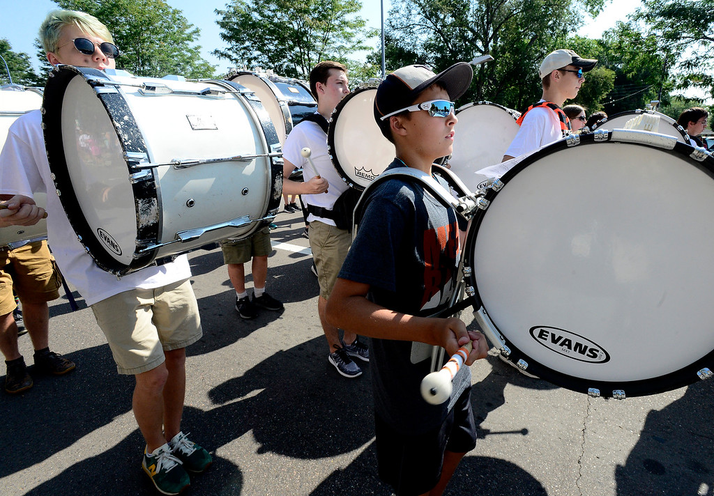 . LONGMONT, CO - AUGUST 4 2018 Drummer Nate Caldwell of Mead High School plays during the annual Boulder County Fair Parade in Longmont Colorado on Saturday August 4, 2018.  (Photo by Paul Aiken/Staff Photographer)