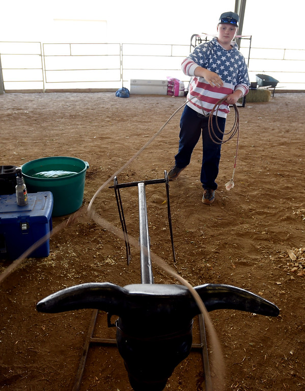 . Josiah Kajcienski works on his roping skills during the Boulder County Fair in Longmont on Tuesday, August 7, 2018. For more photos, go to dailycamera.com. Cliff Grassmick  Staff Photographer  August 7, 2018