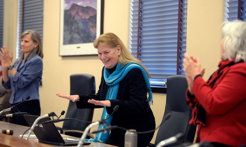 . BOULDER, CO - January 8, 2019: Outgoing Boulder County Commissioner, Cindy Domenico, is given a standing ovation for her service.   Boulder County  officials took their oaths of office on Tuesday January 8, 2019 at the Boulder County Courthouse. (Photo by Cliff Grassmick/Staff Photographer)