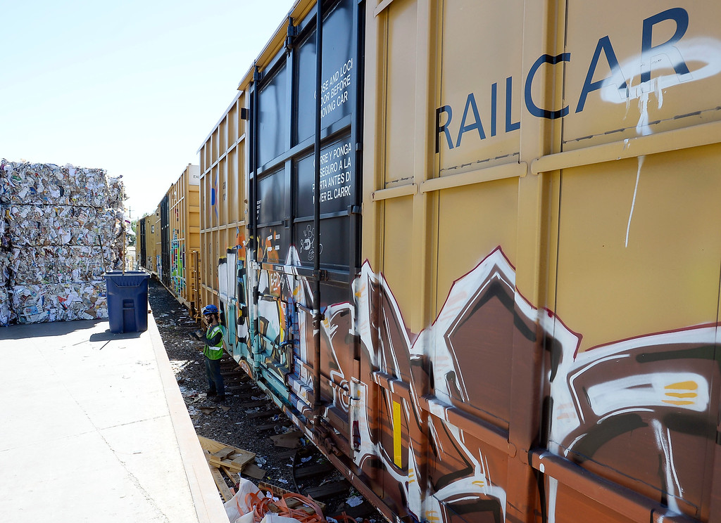 . Paper products are loading into train cars for transport. Boulder County and Eco-Cycle have weathered the market fallout that has impacted other recycling services in the country resulting largely from Chinese policy changes to materials the country accepts via imports. For more photos, go to dailycamera.com. Cliff Grassmick  Staff Photographer  June 1, 2018