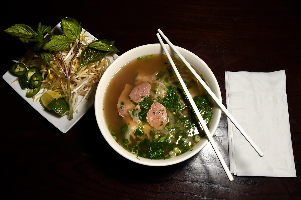 . The combination Pho bowl with rare steak, tendon, tripe and slices of beef ball at Boulder Pho on Monday in Boulder. For more photos of the food at Boulder Pho go to dailycamera.com Jeremy Papasso Staff Photographer July, 31 2017