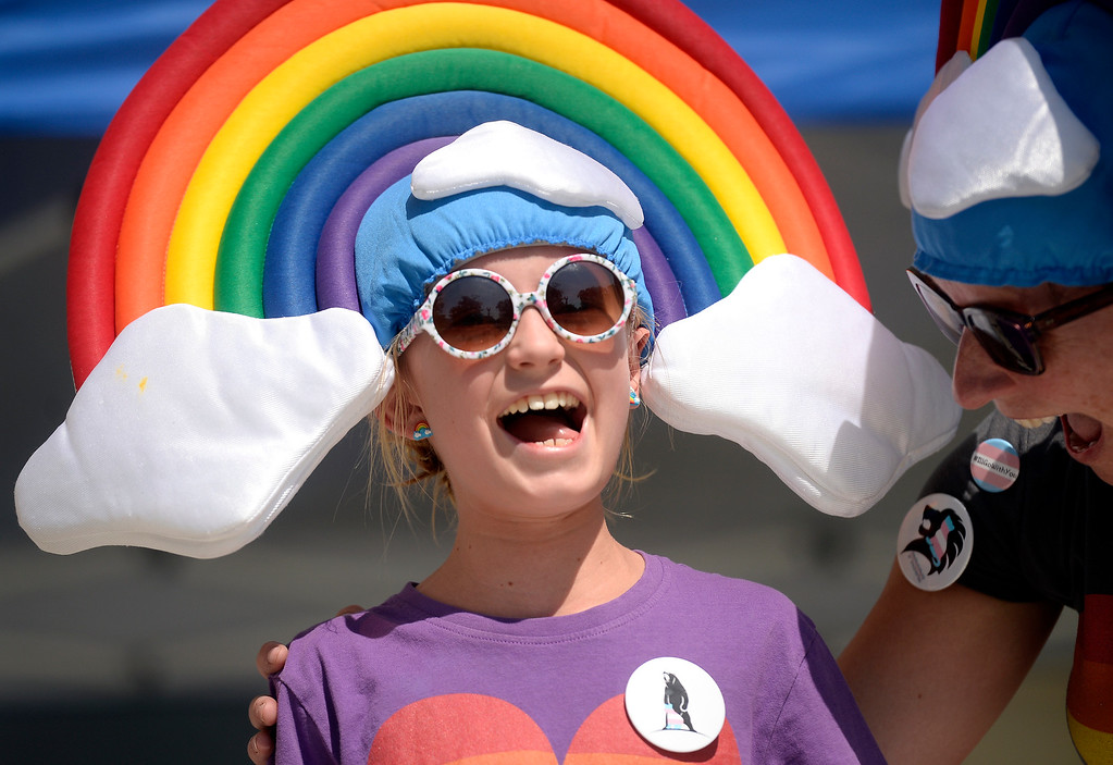 . Ronan, 10, and Eileen Kiernan-Johnson react after winning the Gay 5K costume contest during the Boulder Pridefest 2017 celebration on Sunday at Central Park in Boulder, Colo. For more photos of the Pridefest celebration go to dailycamera.com Jeremy Papasso/ Staff Photographer/ Sept. 10, 2017