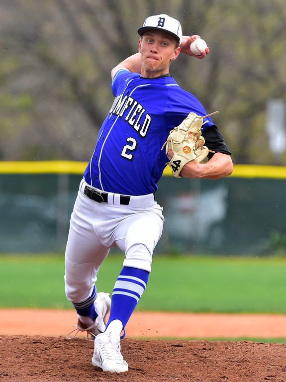 . Broomfield High School\'s Blake Rohm throws against Boulder High during their game at Scott Carpenter Park on Thursday in Boulder. For more photos go to www.bocopreps.com Paul Aiken Staff Photographer April 20, 2017