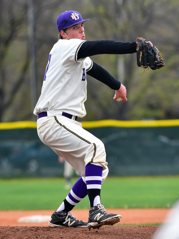 . Boulder High School\'s Jackson Dinkel pitches against Broomfield High during their game at Scott Carpenter Park on Thursday in Boulder. For more photos go to www.bocopreps.com Paul Aiken Staff Photographer April 20, 2017
