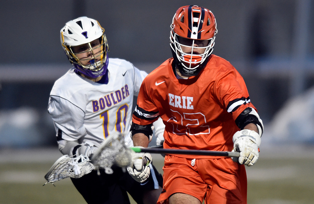 . BOULDER, CO - MARCH 12, 2019: Erie High School\'s Dalton Vande Lune moves the ball towards the goal during a lacrosse game against Boulder on Wednesday at Recht Field in Boulder More photos: BoCoPreps.com  (Photo by Jeremy Papasso/Staff Photographer)
