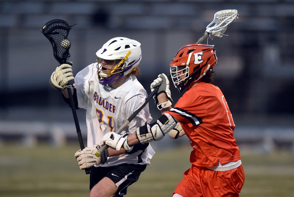 . BOULDER, CO - MARCH 12, 2019: Boulder High School\'s Leo Barringer moves the ball towards the goal during a lacrosse game against Erie on Wednesday at Recht Field in Boulder More photos: BoCoPreps.com  (Photo by Jeremy Papasso/Staff Photographer)