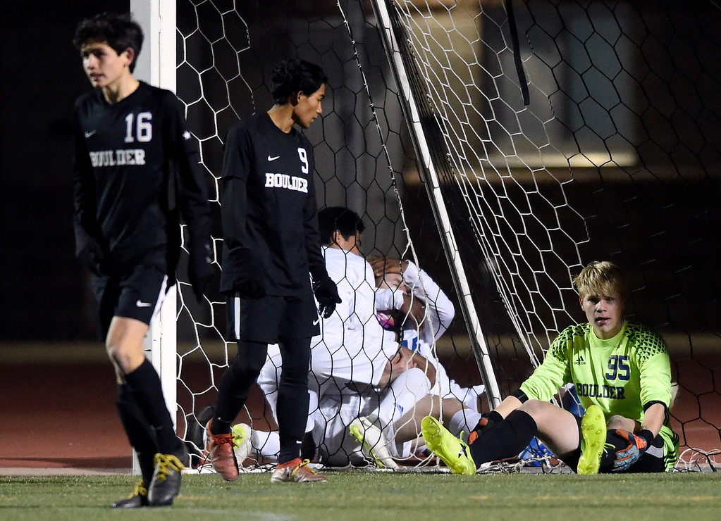 . PARKER, CO - NOVEMBER 7, 2018: Boulder High School goalkeeper Toby Bateman reacts after missing a save during a CHSAA 5A semi-final playoff game against Grandview High School on Wednesday at Echo Park Stadium in Parker. Boulder lost the game 2-0. More photos: BoCoPreps.com