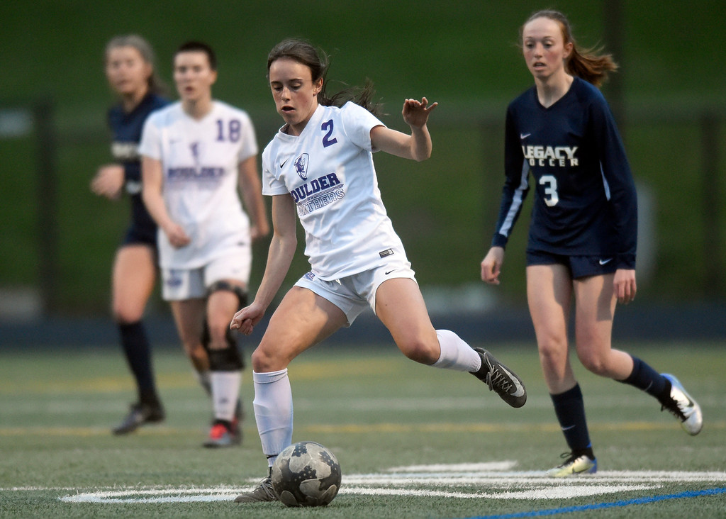. Boulder High School\'s Maria Chapman moves the ball upfield during a game against Legacy on Thursday at Recht Field in Boulder. More photo: BoCoPreps.com Jeremy Papasso/ Staff Photographer 04/12/2018