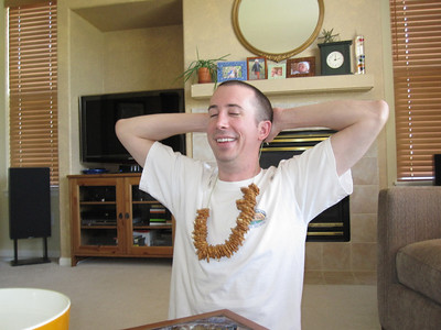 Rob proudly showing off his completed pretzel necklace