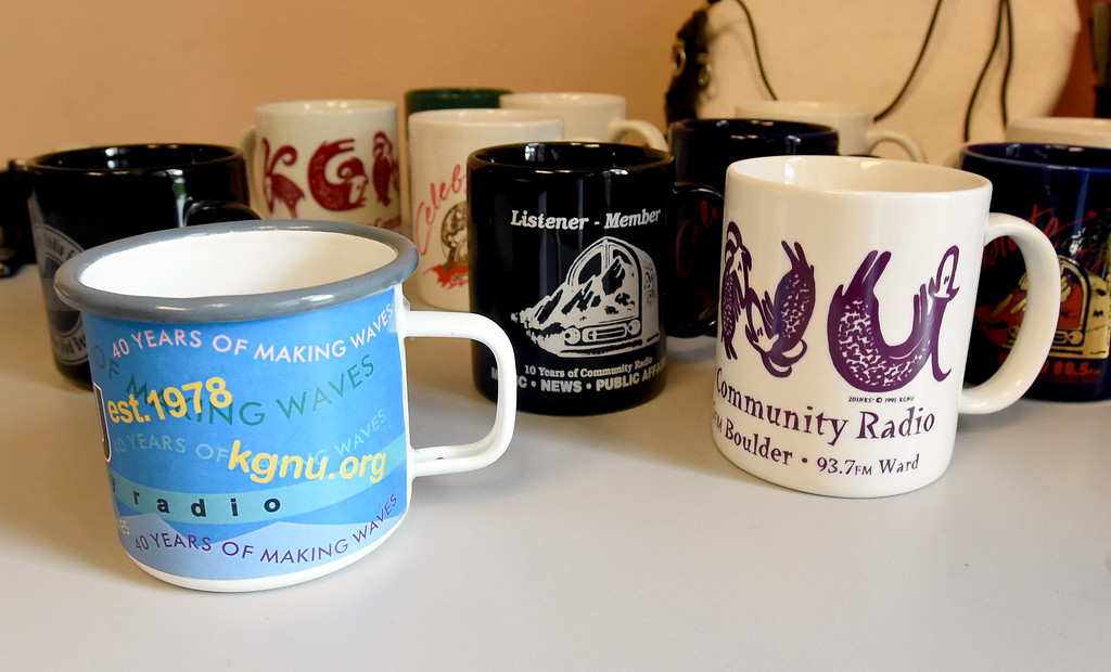 . Unique cups available at the station. Boulder\'s KGNU community radio station is turning 40 this year and is hosting some events throughout the year to commemorate. For more photos, go to dailycamera.com. Cliff Grassmick  Photographer  May 9,  2018