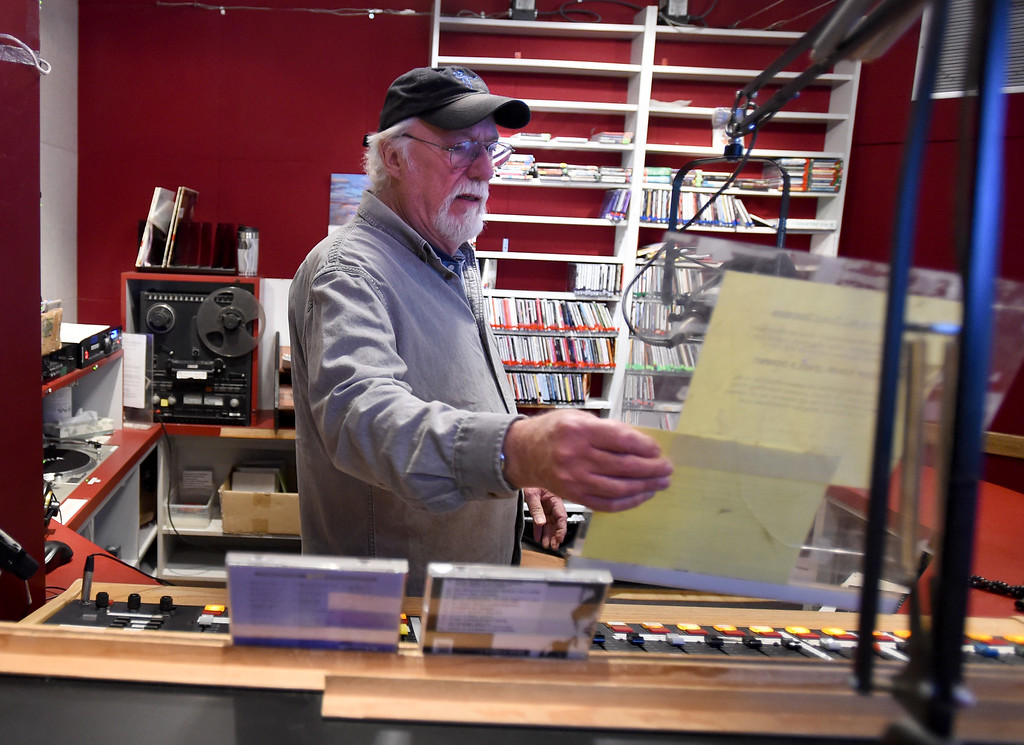 . Dave McIntyre prepares for his morning show on Wednesday. Boulder\'s KGNU community radio station is turning 40 this year and is hosting some events throughout the year to commemorate. For more photos, go to dailycamera.com. Cliff Grassmick  Photographer  May 9,  2018
