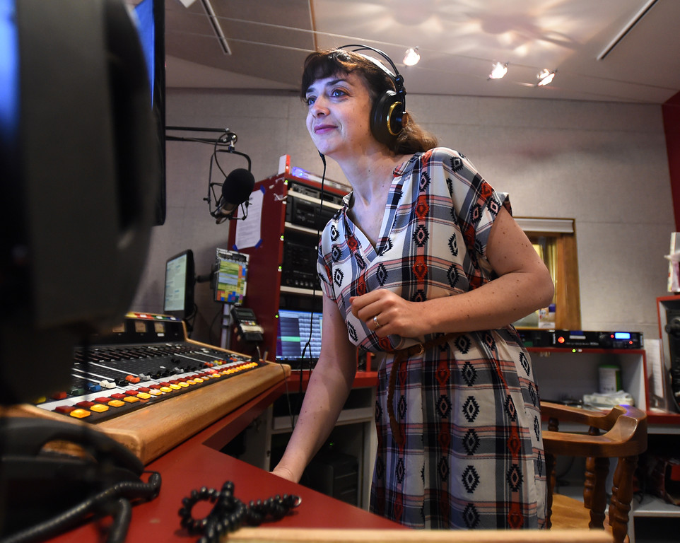 . Maeve Conran, KGNU News Director, works on her morning show on Wednesday. Boulder\'s KGNU community radio station is turning 40 this year and is hosting some events throughout the year to commemorate. For more photos, go to dailycamera.com. Cliff Grassmick  Photographer  May 9,  2018