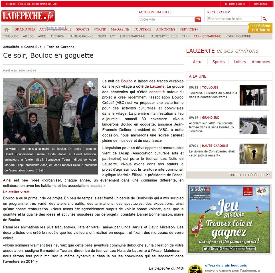Newspaper article (translation follows).  This is the online version.  We have several copies of the actual newspaper (of course).  Layout is identical, but photo is black and white.