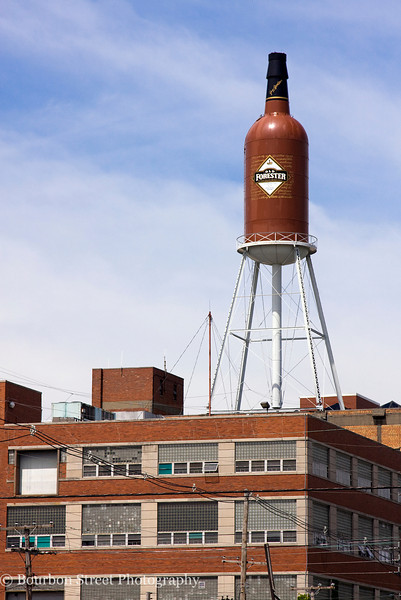The Old Forester water tower above the Brown Forman Distillery as seen from the Dixie Highway