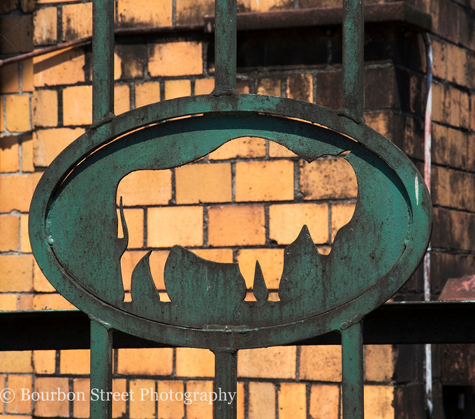 Buffalo silhouette on a gate in the distillery