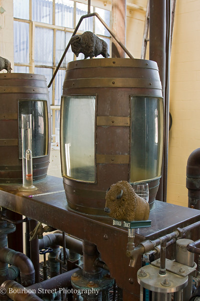 Each spirit safe at the distillery has a buffalo on top.  Also notice the buffalo head 'tap' on the side.