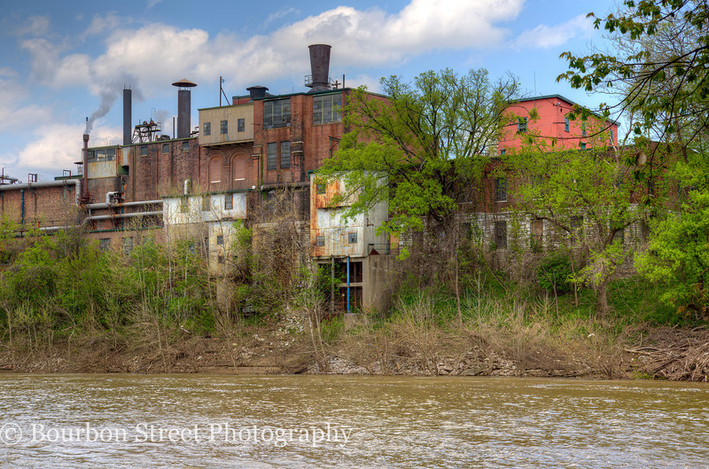 Buffalo Trace Distillery as seen from the Kentucky River.  Note each addition to the structure, showing different building materials over the years.