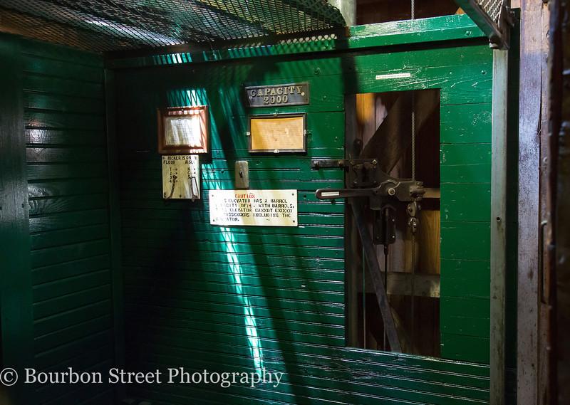 Barrel elevator in the Blanton rickhouse