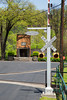 Barrel crossing signal on the distillery grounds