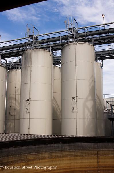 Grain storage silos.