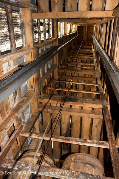 Looking up the barrel elevator shaft.
