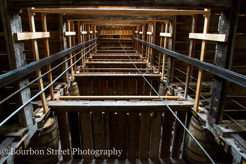A look up the barrel elevator shaft.