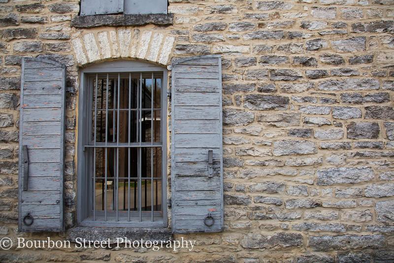 Exterior of a limestone barrel aging warehouse