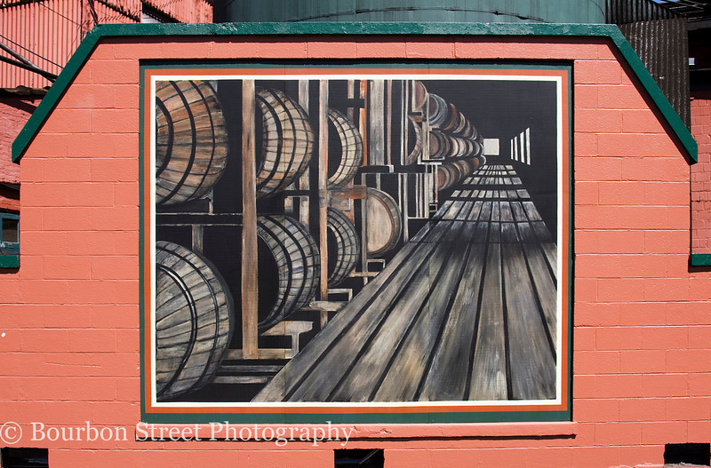 A well known mural on the distillery grounds.  The perspective appears to shift and follow you as you walk past!