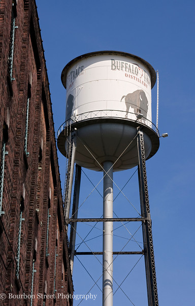 The famous Buffalo Trace water tower, standing watch over barrel warehouse C.