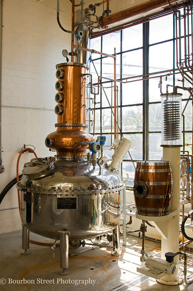 Buffalo Trace's 'micro still'. Used for small experimental batch runs.  They also hope to use this equipment to offer a 'custom distillation' program for anyone who wishes to craft a barrel of whiskey to their own specifications.