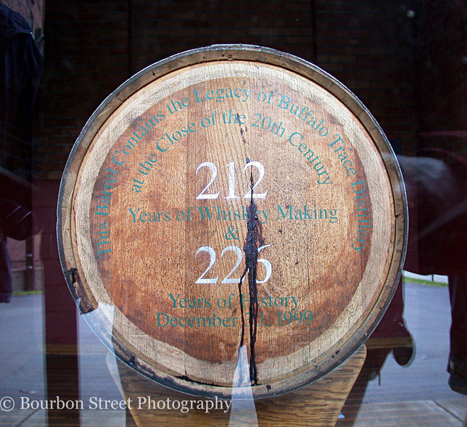 Its current resident of Warehouse V is the last barrel filled in the 20th century. <br /> <br /> Jimmy Johnson, father of tour guide Freddie Johnson, has rolled all of the special barrels into this warehouse. Buffalo Trace estimates that the 6,000,000th barrel will be produced sometime in 2009. <br /> <br /> Mr. Johnson, who is currently 90, requests that they hurry it up.