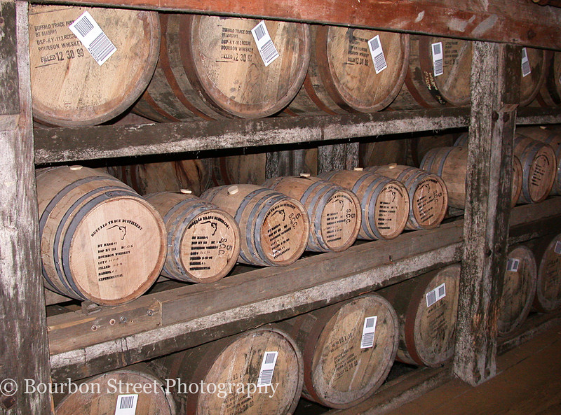 Inside barrel warehouse 'C'.  The top and bottom rows are normal size 50 gallon barrels.  The center row contains custom crafted smaller barrels for experimental purposes.