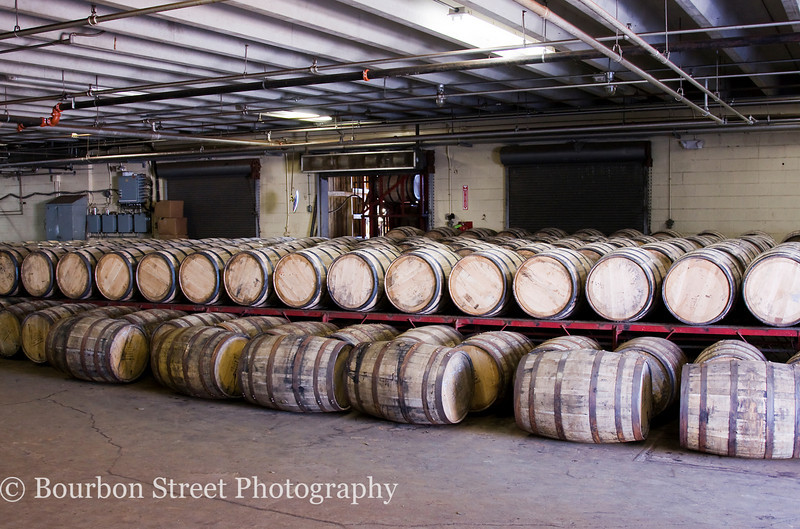Barrels either waiting to be filled or to be trucked over to a warehouse.