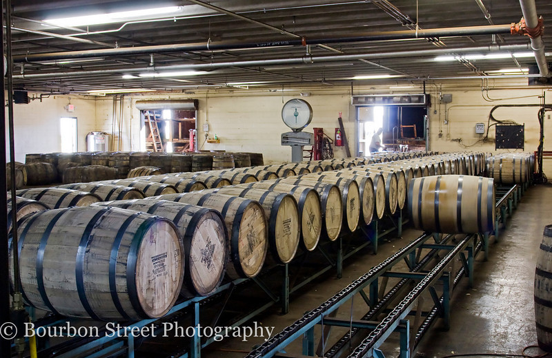 Full barrels waiting to be trucked over to a warehouse.
