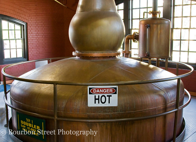 After the first distillation in the column still the spirit is distilled a second time in a pot still known as a doubler.