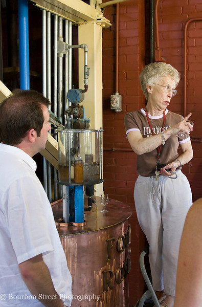 During the walking tour we were given a taste of fresh whiskey as it comes off the still.  This unaged clear spirit is known as 'new make' or 'white dog'.  It is very fruity and floral, and much tastier than most people would expect.