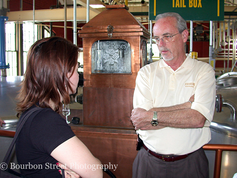 Jim started the tour with a brief history and overview of the distillery. <br /> <br /> Four Roses was founded in 1888 and was the top selling bourbon in the US during the 30's, 40's and 50's. The company then shifted sales to export only and became the top selling bourbon in Japan and Europe. <br /> <br /> Four Roses has recently become available again domestically, although only in Kentucky, with their standard yellow and single barrel labels. <br /> <br /> The single barrel product uses a mash bill of 60% corn, 35% rye, and 5% barley malt with a light fruity yeast to balance the high rye. It is aged for 7 to 9 years. Four Roses boasts the highest rye content in the bourbon industry.