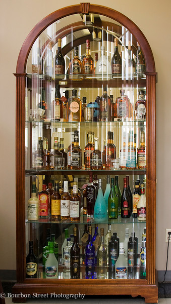 This display case sits in the distillery lobby.  It presents a small cross section of the many brands and labels owned by Heaven Hill.