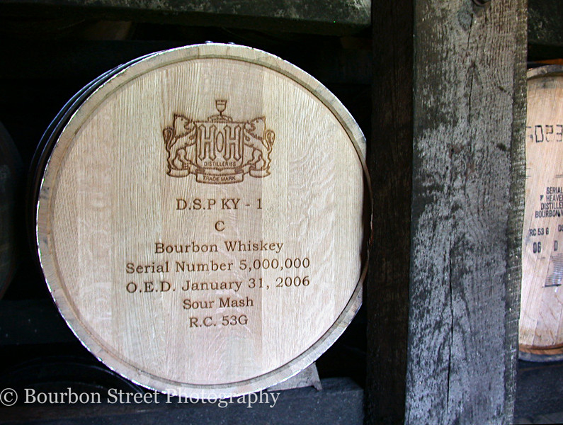 Heaven Hill's 5,000,000th barrel, filled on January 31, 2006.  Several of these landmark barrels can be viewed during a tour through on of the rickhouses close to the visitor's center.