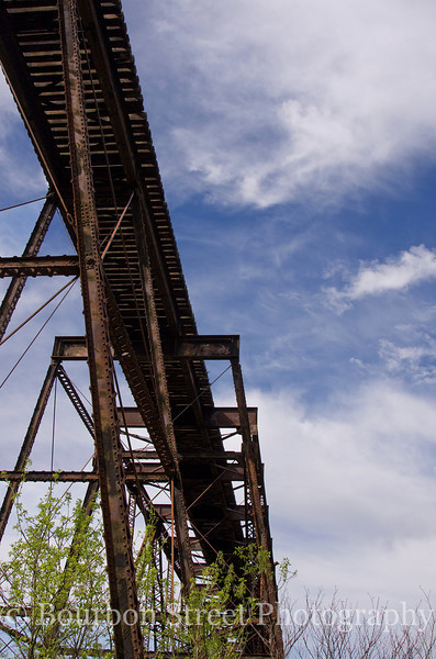 A railroad trestle crosses the Kentucky River adjacent to the distillery.  No longer in use, it used to carry most of the rail traffic through this area.