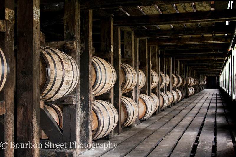 Barrel aging warehouse, or 'rickhouse'.  Whiskey matures in these barrels until it reaches the age and flavor profile needed for one of Wild Turkey's products.  <br /> <br /> Barrel aging is enhanced by seasonal and daily temperature swings.  Wild Turkey does rotate barrels between the top and bottom most floors if they are deemed to be aging too slow or fast.  <br /> <br /> The top rick on some floors is left empty, as seen here, to aid in even air flow.  <br /> <br /> The warehouses are not heated in winter and the sprinkler system contains antifreeze for the cold winter months.