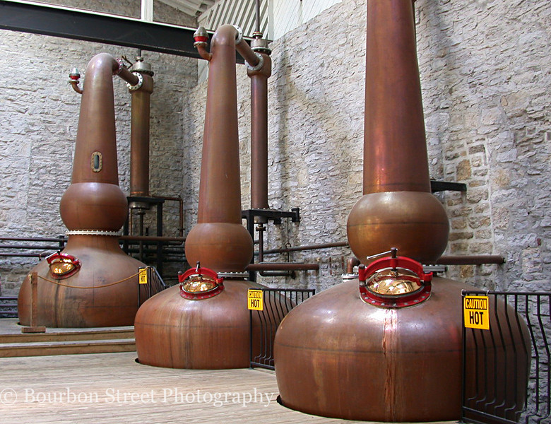 Woodford Reserve is unique in the Bourbon industry in that they use three copper pot stills, similar to those used in Scotland.  This triple distillation gives the product a distinct flavor.