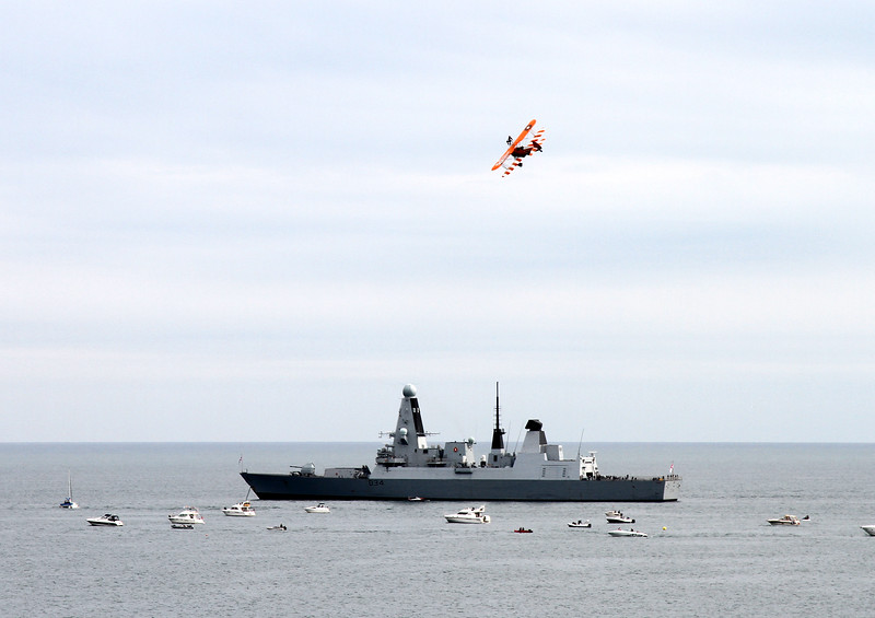 Wing Walker over HMS Diamond, Type 45 destroyer