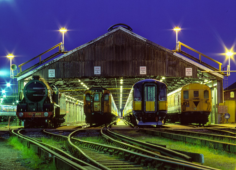 """S15: 828, 2307, 442423 and 930201 on display outside the Cleaning Shed at the """"Bournemouth Rail Gala"""" on 16th May 1998."""