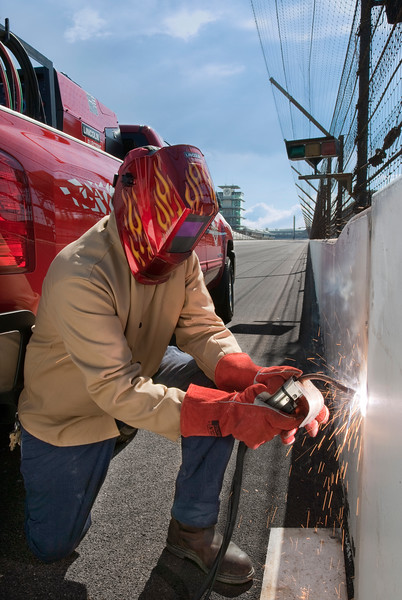 Mantenance welding at Indianapolis Motor Speedway