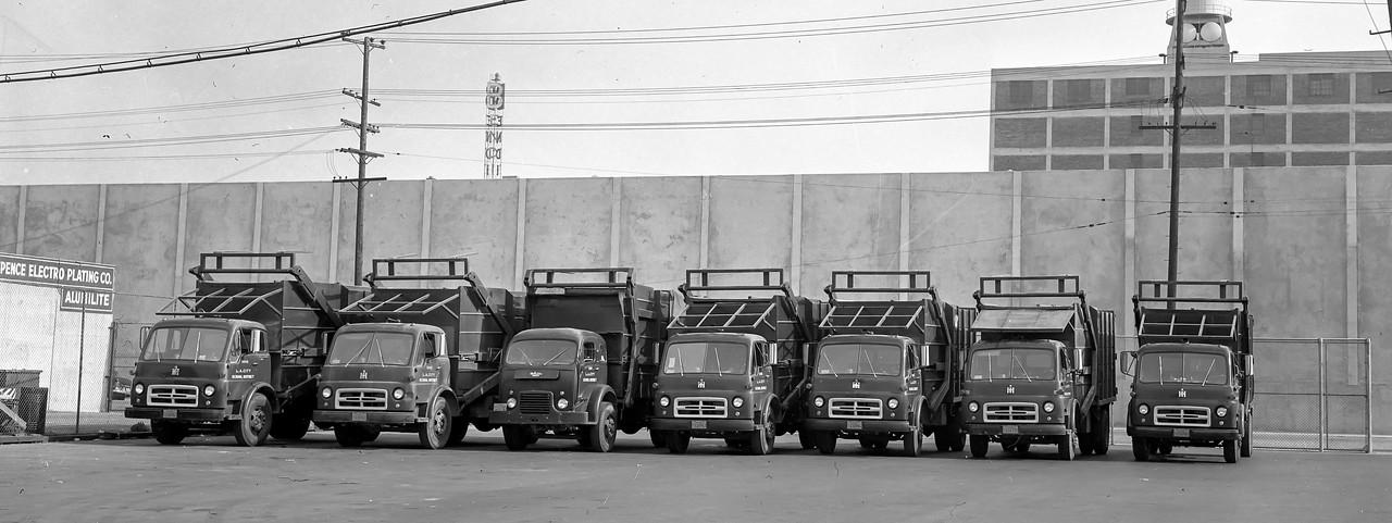 Fleet shot of the LA City School District Front Loaders