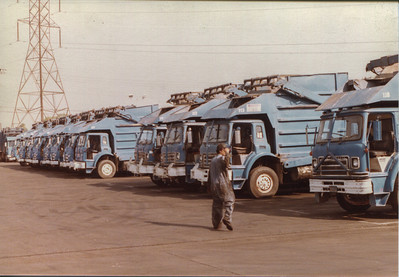 Fleet shot ca. 1968 Notice the Over the Cab arm now on  the majority of the trucks