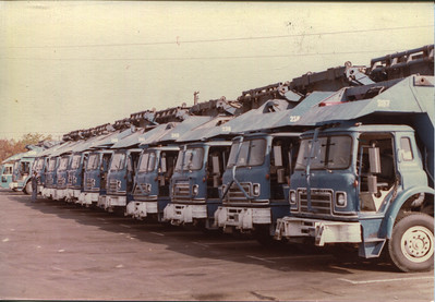 Fleet shot ca. 1968 Notice the Over the Cab arm now on all trucks