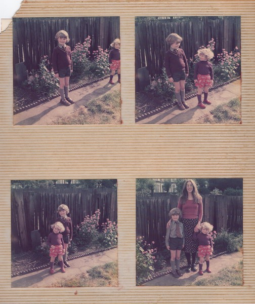 My first day at school, Amy wanted to dress up similarly with brown top and long socks like her big bro!